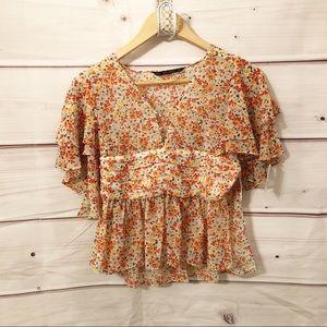 Zara floral ruffle blouse NWT
